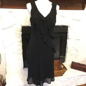 BOBBIE BEE BLACK RUFFLE SLEEVELESS COCKTAIL DRESS